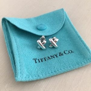Rare Tiffany Retired Silver X Earrings